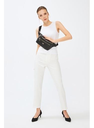 Deri Company Kadın Basic Bel Çantası Çizgili Dokulu Desenli Siyah 214037 Siyah